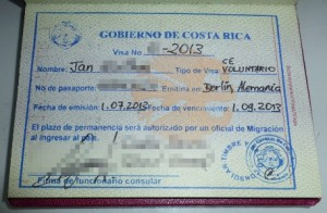 Visum für die Einreise nach Costa Rica